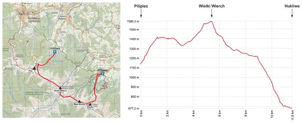 Przebieg i profil trasy na Wielki Wierch